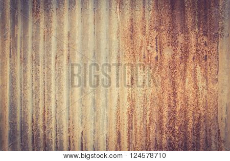 A rusty corrugated iron metal texture. Vintage tone