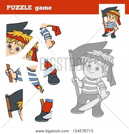 Puzzle Game For Children, Pirate Boy