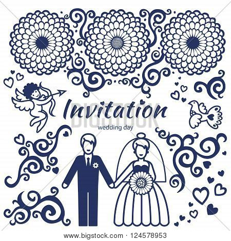 Vector Set For Wedding Invitation