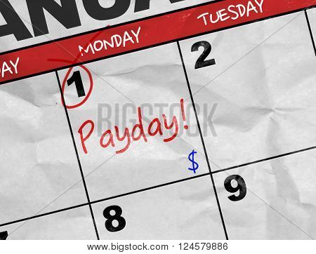 Concept image of a Calendar with the reminder: Payday!