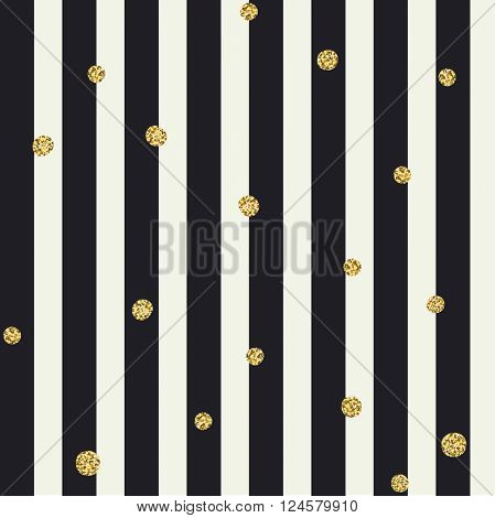 Chevron seamless pattern. Black bold lines and golden dots