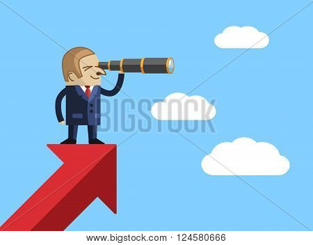 Business man looking for success with telescope monocular. Vector EPS 10.