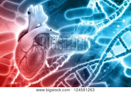 3D medical background with DNA strands and heart