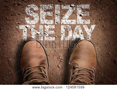 Top View of Boot on the trail with the text: Seize the Day
