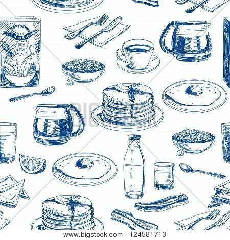 Vector hand drawn breakfast seamless pattern. Vintage Illustration with hotcake, egg, milk, cornflakes, orange juice, coffee, toasts. Repeating background. Modern stylish texture.