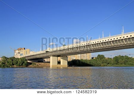 Omsk, Russia - June 21, 2010: New Metro Bridge (of The 60Th Anniversary Of The Victory) Over The Irt