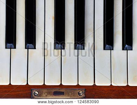Piano keys of an old German piano