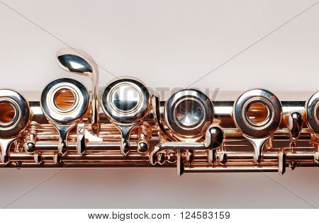 Golden flute. isolated on brown background with clipping path