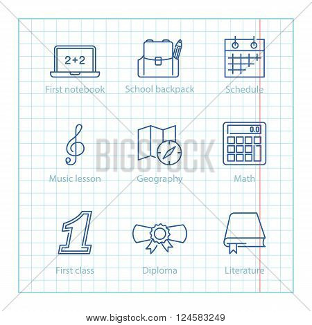 Vector Thin Line Icons Set For Education And Science Infographics