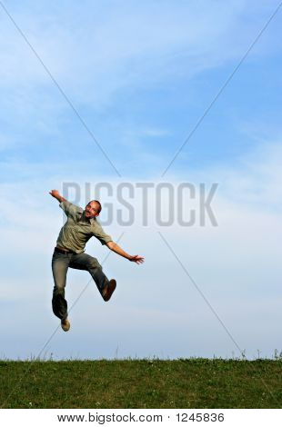 Man Leaping Playfully