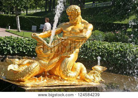 Peterhof, Russia - June 27, 2008:  Triton Fountain In Lower Park, Peterhof, Russia