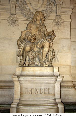 Paris, France - December 16, 2011: Statue Of George Frideric Handel Inside Of Opera National De Pari