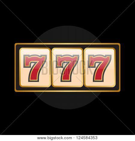 Slot machine symbols on black background. Lucky seven vector eps10
