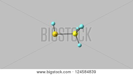3D illustration of Methanethiol or methyl mercaptan. It is an organosulfur compound with the chemical formula CH3SH. It is a colorless gas with a distinctive putrid smell.