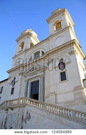 Rome, Italy - December 20, 2012: The Church Of The Santissima Trinita Dei Monti Above The Spanish St