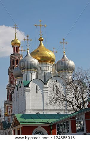 Moscow, Russia - April 24, 2011: Smolensky Cathedral And Bell-tower Of Novodevichy Convent, Moscow