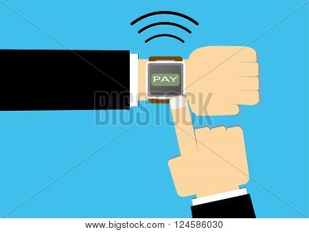 flat vector illustration of smart watches with hands and finger pointing at pay button. business payment technology concept