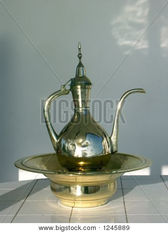 Brass Pitcher Water Pot And Bowl