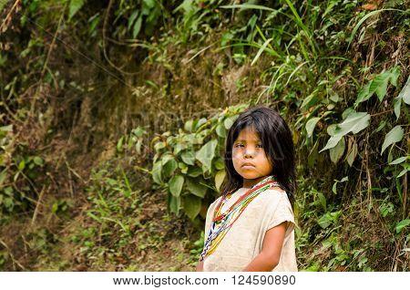 MAGDALENA, COLOMBIA - FEBRUARY 3: Kogi Indian on February 3, 2014.  The Kogi tribe inhabits the Sierra Nevada de Santa Marta mountain range near the Colombia coast
