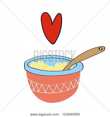 A delicious bowl of freshly made porridge or oat cereal with a red heart shape floating above it to show how much we love porridge