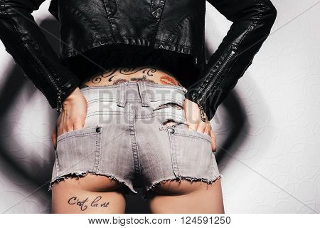 Sexy Woman Body In Jeans Shorts