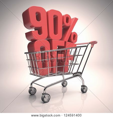 3D image concept of promotion rebate on your purchases. Clipping path included.