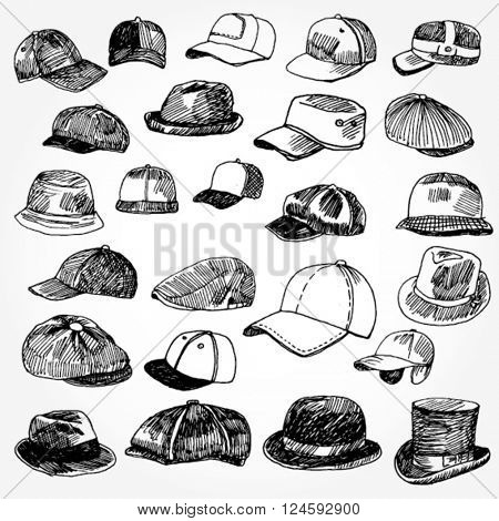 Set of Caps and Hats