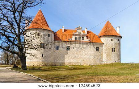 Old medieval castle in Bauska town, Latvia