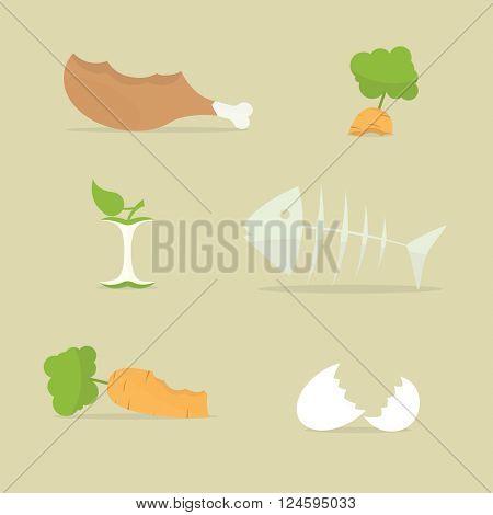 food trash icon set