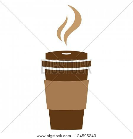 Takeaway hot coffee paper cup with steam. Vector sign.
