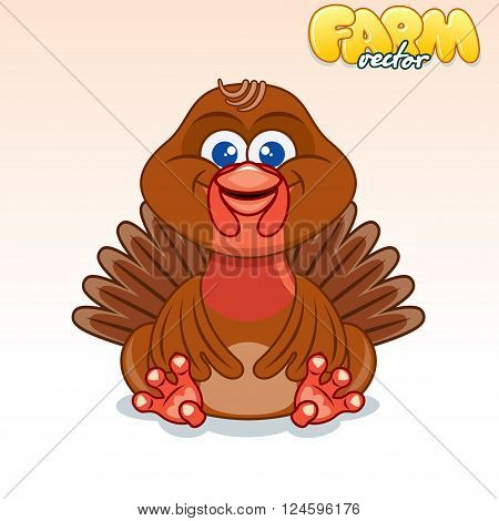 Cute Cartoon Cheerful Turkey. Funny Vector Animals Series