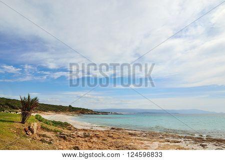 Le Bombarde beach under a cloudy sky Sardinia