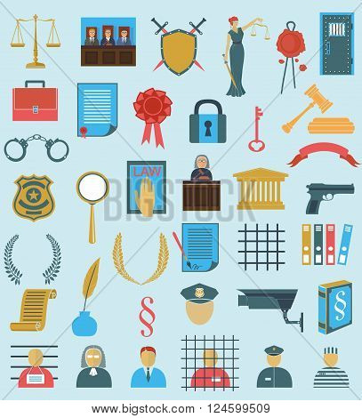 set law court . different flat  icons clipart. Themis gavel Libra shield wreath people judge crime