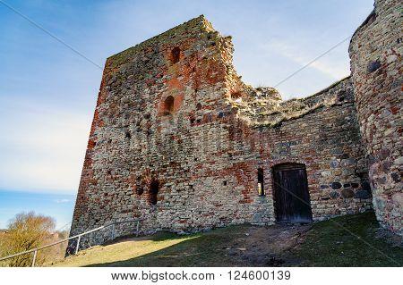 Ruins of the medieval castle in Bauska, Latvia