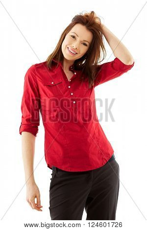 Happy Young woman shoot over white background, isolated