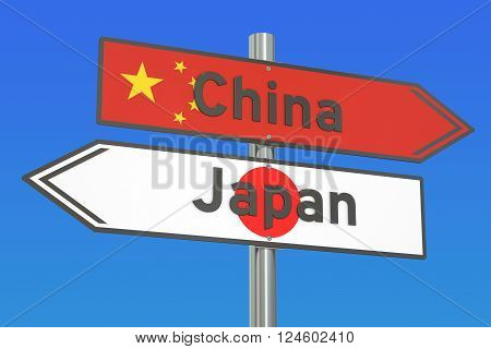 China and Japan relations concept 3D rendering