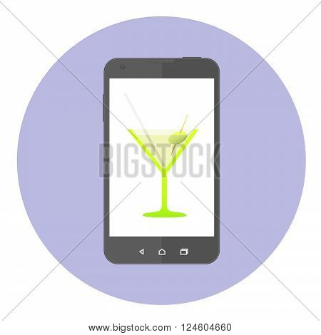 Mobile Phone Screen With Cocktail Party Glass