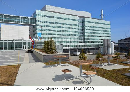 MONTREAL CANADA 04 29 2016: New McGill University Health Centre (MUHC) and shriners hospital a network of teaching and community hospitals