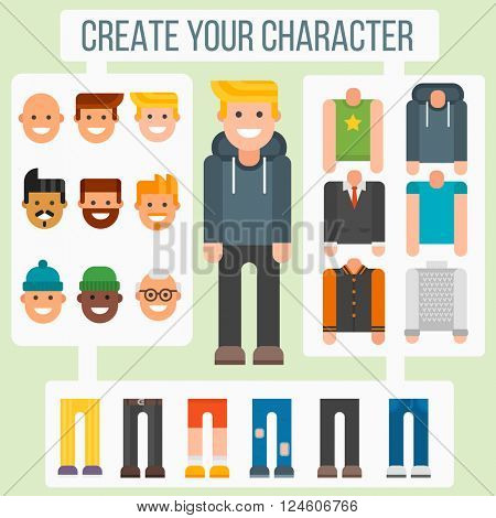 Make your flat character elements creator man in different versions vector.