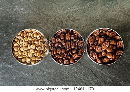 Three Different Kinds Of Coffee.