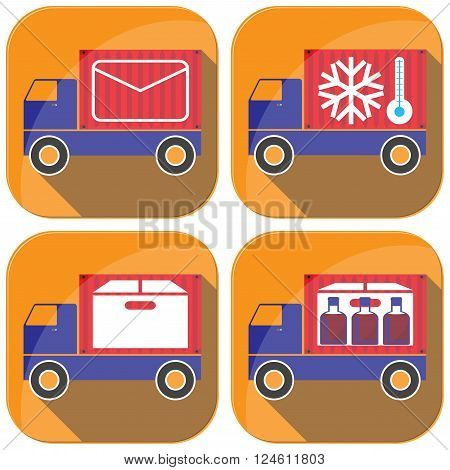 Cargo transportation by road. Style icons and illustration.