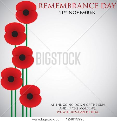 Remembrance Day poppy card in vector format.