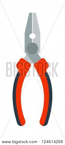 Pliers hand tool worker equipmen flat cartoon vector illustration.