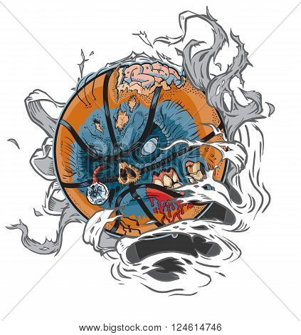 Vector cartoon clip art illustration of A Zombie Basketball Ripping out of the Background. Important elements are in seperate layers in the vector.