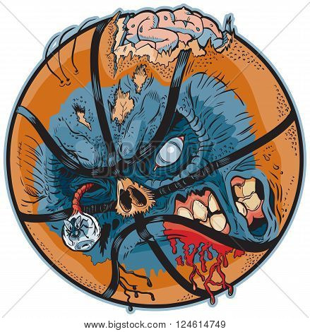 Vector cartoon clip art illustration of A Zombie Basketball. Important elements are in seperate layers in the vector.