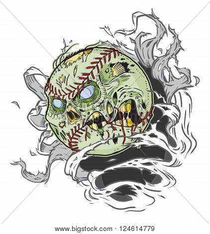 Vector cartoon clip art illustration of A Zombie Baseball Ripping out of the Background. Important elements are in seperate layers in the vector.