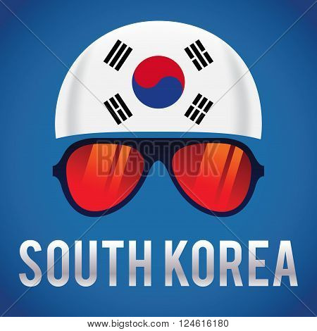 Head band and sunglasses with South Korea insignia vector illustration