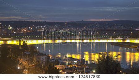 Belgrade bridges skyline at the  night over  the river