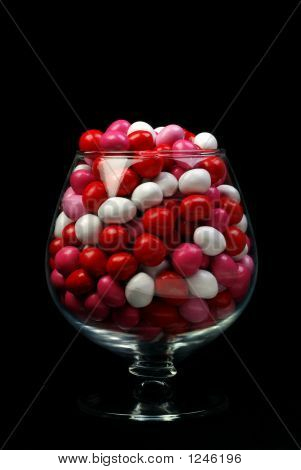 Valentine Candy In Glass On Black
