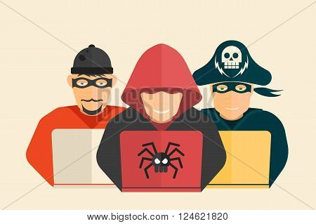 Cyber security. Hacker, computer pirate and scammer.